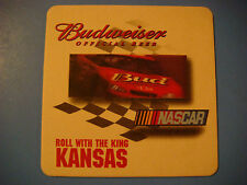 Beer Coaster    A-B BUDWEISER ~ Official Beer NASCAR ~ Roll With The King KANSAS