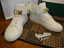 *RARE* Buscemi Croc Leather Sneakers with Gold Buckles/Locks/Keys *40*US 7*NEW*