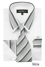 Men's Dress Shirt with Matching Tie And Handkerchief Set 6 Colors Size 15~20