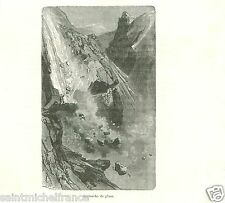 Ice Avalanche de Glace Himalayas Mount Everest GRAVURE ANTIQUE OLD PRINT 1886