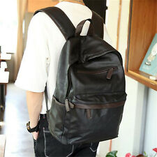 Black Men Vintage PU Leather Solid Casual Travel Backpack Bag Travel Hiking