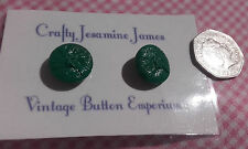 2 (a pair) Pretty Green Glass-like Shank Vintage Textured Buttons Approx 18mm