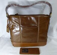 Tignanello Distressed Leather Hobo Bag Chestnut Brown NEW with Card Holder