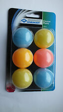 Pack of 6 TABLE TENNIS BALLS | 40mm Multi-coloured Donic Schildkrot Colour Popps
