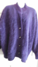 VINTAGE GORGEOUS FLUFFY SOFT FUZZY FUR ANGORA PURPLE CARDIGAN SWEATER XL