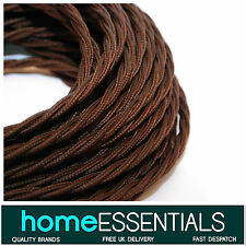 Vintage Style DARK BROWN twist fabric braided 3-Core 0.75mm² Electric Lamp Cable