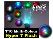 Multi-Colour Flashing T10 W5W LED Rainbow Blue Red Purple WARRANTY