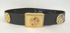 VINTAGE 1980s ESCADA BLACK LEATHER BELT GOLD METAL MEDALLIONS RHINESTONES