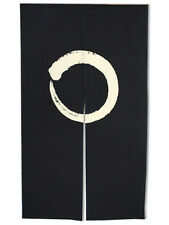 "Japanese 59"" Noren Doorway Room Divider Curtain Black Circle Ensoh Made in Japan"