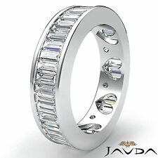 Baguette Channel Set Diamond Womens Eternity Wedding Band Platinum Ring 3.5Ct