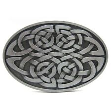 Celtic Irish Eternal Knot Oval Belt Buckle Mens Vintage Silver Western Cowboy