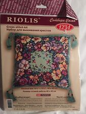 Riolis 1234 Pansy Floral Pillow Cushion Kit Purples Counted Cross Stitch Kit
