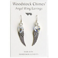 Woodstock Chime Angel Wing Earrings Swarovski Aurora Borealis Crystal Heart CWAB
