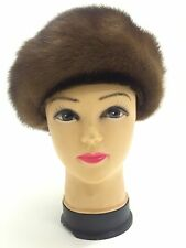 Ladies Vintage Real Mink Fur Hat Brown Velvet Bow Medium