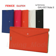 FENICE CLUTCH Samsung Galaxy Note II Premium Italian PU Leather Case - Orange