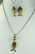 VTG S HEPBURN HAND WROUGHT STERLING SILVER BRASS FISH NECKLACE & EARRINGS SET