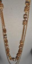 """Chico's New Long Necklace Gold tone Chains with Brown /Tan Beads 2 Strand 20"""""""