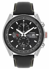 CITIZEN UOMO ECO-DRIVE CRONOGRAFO IN PELLE NERA WATCH ca0369-29e - Rrp £ 229.00
