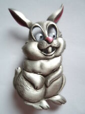 """Vintage Signed JJ """"Silver pewter Rabbit with Google Eyes"""" Brooch/Pin"""