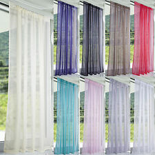 Lucy Slot Top Plain Voile Curtain Panel - White Cream All Colours - Net & Voile