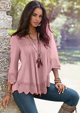 Fashion Women's Lace Crochet Long Sleeve Loose T-Shirt Casual Blouse Sexy Tops