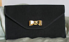 Cute Vintage Salvatore Ferragamo Ribbed Leather Lined Coin Purse/Pouch Gold Bow