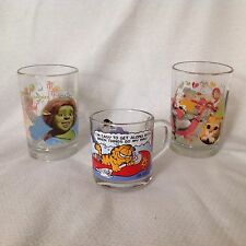 2 SHREK THE THIRD & 1 GARFIELD Mc DONALD'S Beverage Glass Mugs Cups