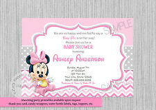 PRINTED Baby Minnie Mouse Baby Shower Invitations, Baby Shower Party Supplies