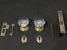 1 Pair Antique Glass Door Knobs Skeleton Key Mortise Keyhole (MANY AVAILABLE!)