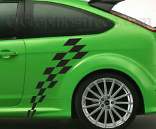 MK3 Focus Car Body Sticker Racing Checker Flag  Custom Side Stripe Graphic Decal