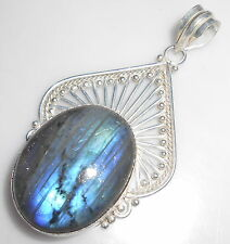 FABULOUS-BLUE-FIRE-LABRADORITE-BLACK-MOONSTONE-GEMSTONE-925 SILVER PENDANT E19