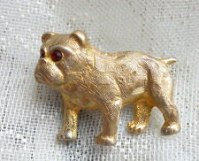Little Vintage BULL DOG Pug Red Rhinestone Gold Tone Brooch PIN