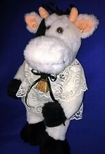"""Old Fashioned Look"" PLUSH COW - Black/White - Pearls, Lace, Ribbons, Cow Bell"