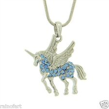 W Swarovski Crystal UNICORN Blue Flying Pegasus Horse Pendant Necklace Jewelry