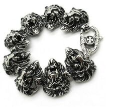 Cool Jewelry stainless steel Biker Lion Heads Charms Chain Bracelet Heavy 8.8''