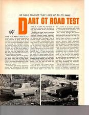 1966 DODGE DART 273/180 HP ~ ORIGINAL 2-PAGE ROAD TEST / ARTICLE / AD