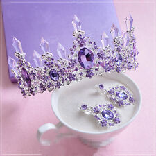 Wedding Bridal Purple Crystal Crown Tiara Earring Jewelry Set Hair Accessories