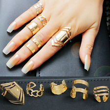 5 Pcs 18K Gold Plated Knuckle Finger Ring Set Jewelry Women Gothic Gift Party