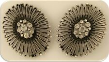 2 Hole Beads Flowers Oval Filigree Metal ~Clear Swarovski Crystal Elements QTY 2