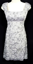 """PHOEBE"" LIGHT GREY METALLIC FLORAL EMBROIDERED CAREER COCKTAIL DRESS SIZE: 2"