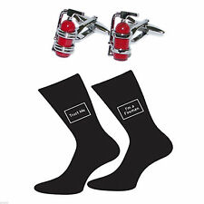 Red Fire Extinguisher Cufflinks & Trust me I'm a Fireman Socks Gift Set
