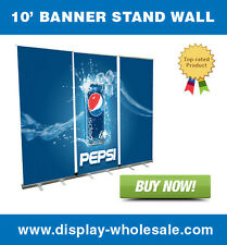 10' Retractable Roll Up Banner Stand Wall + free vinyl print