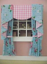 MINIATURE DOLL HOUSE 12TH SCALE CURTAINS DRAPES SHABBY CHIC BLUE PINK 12CM
