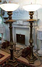 """PR  72"""" CAST BRONZE Classic TORCHIERE FLOOR LAMP LAMPS Uplighting 24"""" Globe"""