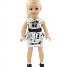 """Silver Sequins Shirt Dress Outift for 18"""" American Girl Journey Doll Clothes"""
