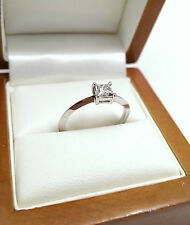 9ct White Gold Zirconia Tiffany Style Angled Band Solitaire Ring Size N1/2