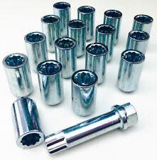 16 x Car wheel Tuner Slim nuts bolts. M14 x 1.5, 17mm Hex star key, Taper seat