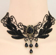 GOTHIC VICTORIAN LACE BLACK ROSE REQUIEM CHOKER - STEAMPUNK COSPLAY NECKLACE -UK
