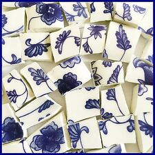 "60 BROKEN CHINA MOSAIC TILES~ 1/2-2/3"" White Blue FRENCH PROVENCE Flowers CHINTZ"