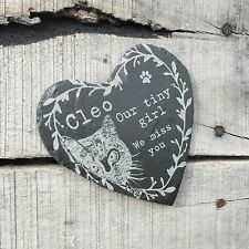 Personalised Engraved Slate Heart Cat Pet Memorial Stone Grave Any Wording
